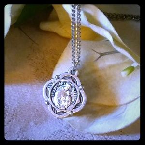 Vintage St. Anthony Pray for Us Medal Necklace